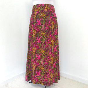 Vintage 70s M/L Cotton Hippy Print Maxi Skirt